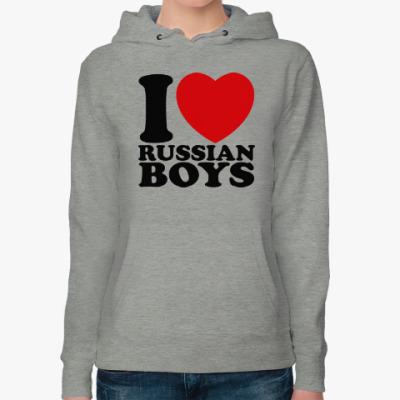 Женская толстовка худи Люблю русских парней