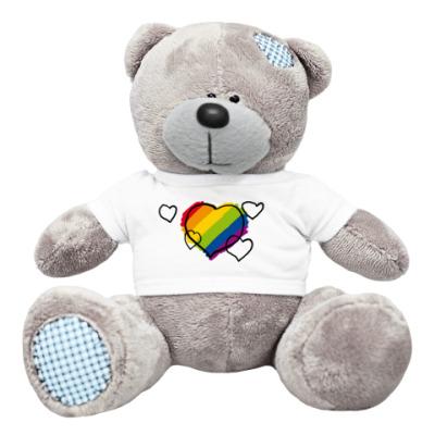 Плюшевый мишка Тедди 'Rainbow hearts'