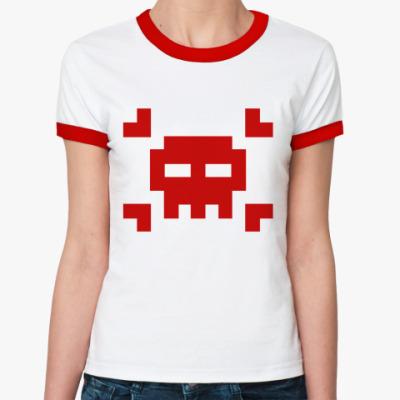 Женская футболка Ringer-T 8bit skull  Ж(б/к)
