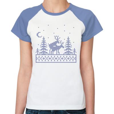 Женская футболка реглан Олени в лесу