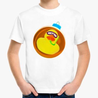 Детская футболка Уточка на коричневом шаре