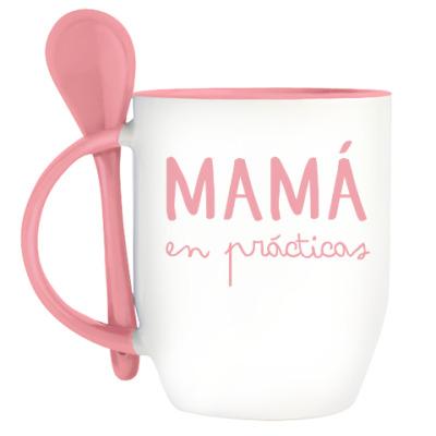 Кружка с ложкой Mamá en prácticas
