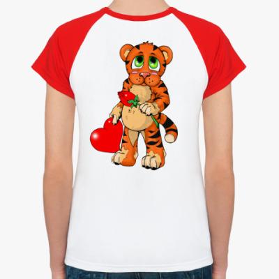 Женская футболка реглан Тигренок