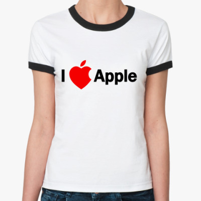 Женская футболка Ringer-T I love apple