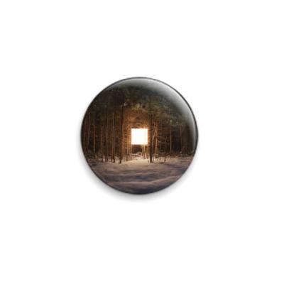 Значок 25мм светящийся куб