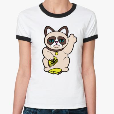Женская футболка Ringer-T Tard Grumpy Cat Maneki Neko