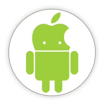 Костер (подставка под кружку) Андроид голова-яблоко