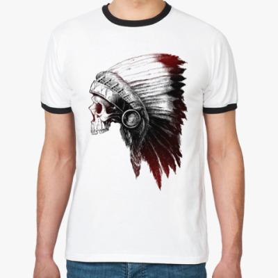 Футболка Ringer-T Череп Индейца