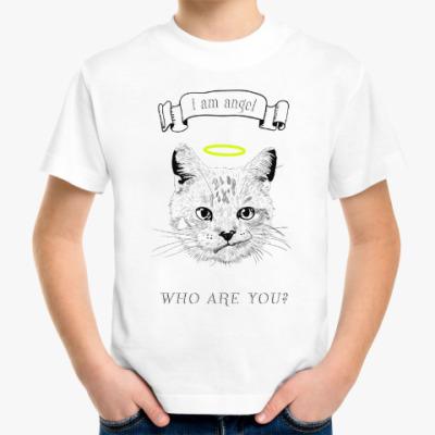 Детская футболка Кот ангел с нимбом над головой