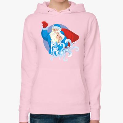 Женская толстовка худи Дед Мороз и Снегурочка с мешком подарков