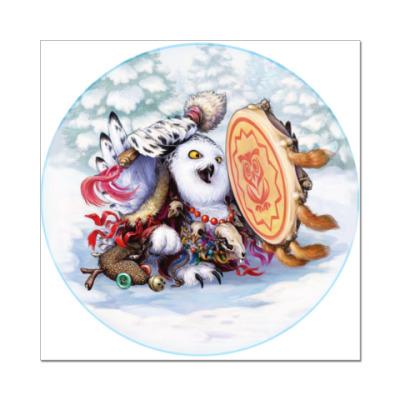 Наклейка (стикер) Сова - сибирский шаман