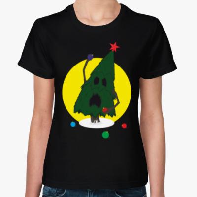 Женская футболка Бешеная ель на новый год