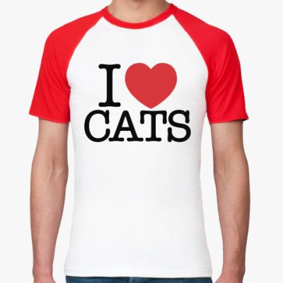 Футболка реглан i love cats!