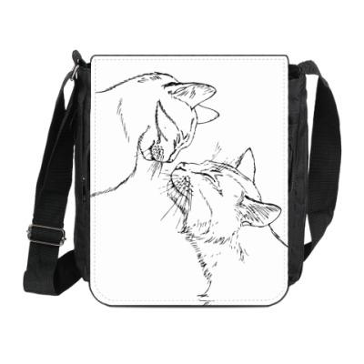 Сумка на плечо (мини-планшет) Кошачьи нежности