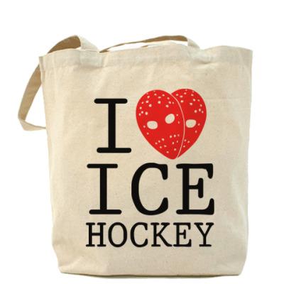 Сумка Холщовая сумка Люблю хоккей