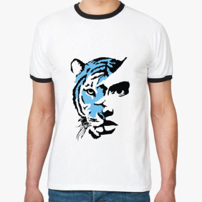 Футболка Ringer-T Тигр голубой
