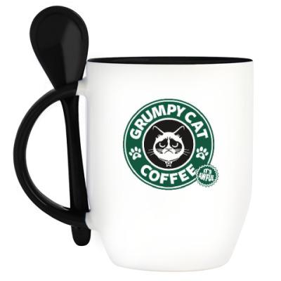 Кружка с ложкой Grumpy Cat coffee!