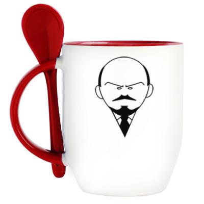 Кружка с ложкой Ленин