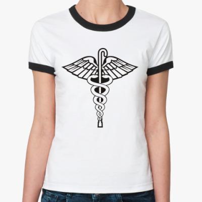 Женская футболка Ringer-T  'Трость и змеи'