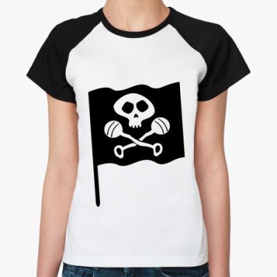 Женская футболка реглан Черепок