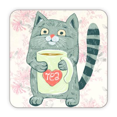 Костер (подставка под кружку) Котик с чаем