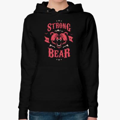 Женская толстовка худи Оскал медведя