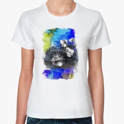 Классическая футболка Акварель синий