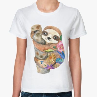 Классическая футболка Милый ленивец