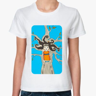 Классическая футболка девочка дерево