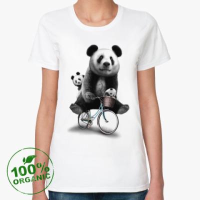 Женская футболка из органик-хлопка Панды на велосипеде