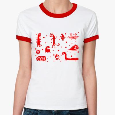 Женская футболка Ringer-T Динозаврики