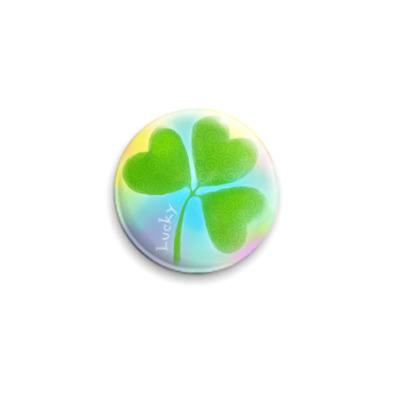 Значок 25мм Клевер 'Lucky'