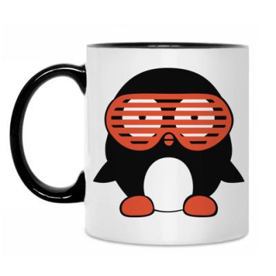 Кружка Пингвин в очках жалюзи
