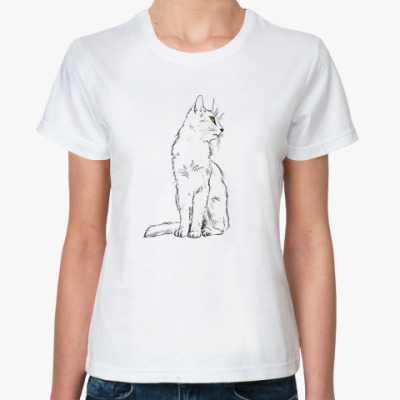 Классическая футболка 'Белый кот'
