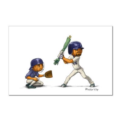 Наклейка (стикер) Тыквы Бейсбол