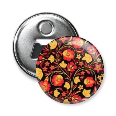 Магнит-открывашка Хохлома цветы
