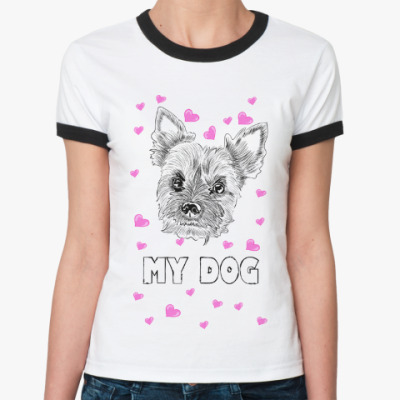Женская футболка Ringer-T Love my little dog