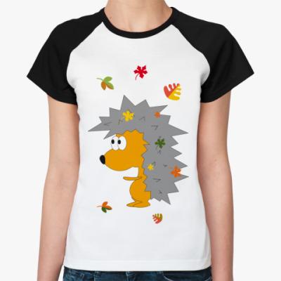 Женская футболка реглан   Ежик-ежик
