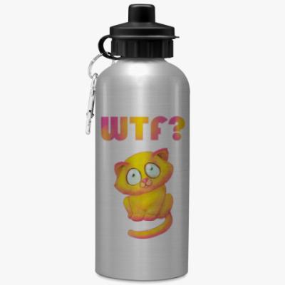Спортивная бутылка/фляжка котик wtf