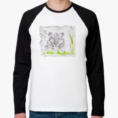 Футболка реглан с длинным рукавом Тигр в траве