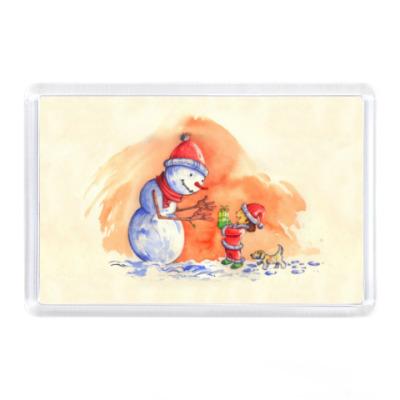Магнит Снеговик и девочка