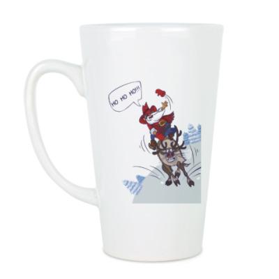 Чашка Латте лихой Санта