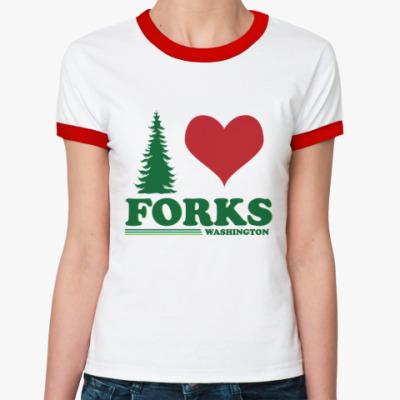 Женская футболка Ringer-T I love Forks.WA