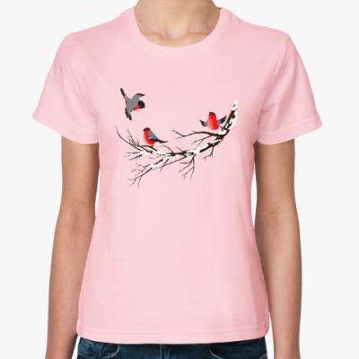 Женская футболка Снегири