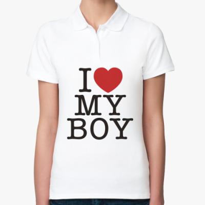 Женская рубашка поло I love my boy