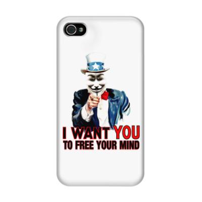 Чехол для iPhone 4/4s Anonymous Uncle Sam