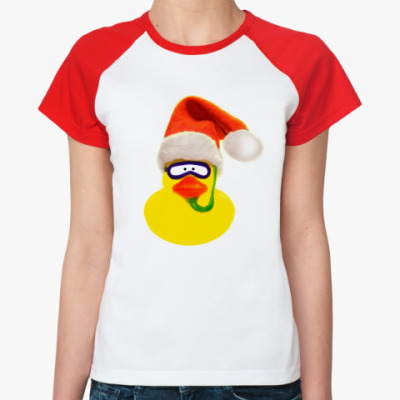 Женская футболка реглан Новогодняя Уточка