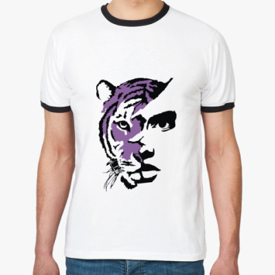 Футболка Ringer-T Тигр фиолетовый