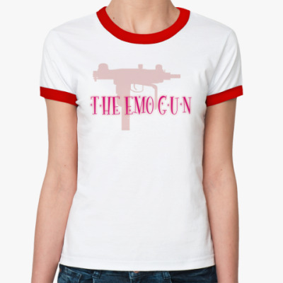 Женская футболка Ringer-T  'The emo gun'