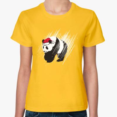 Женская футболка Санта-панда